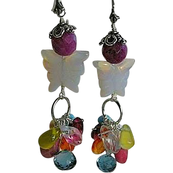 Topaz Opalite butterfly earrings Silver tulip gem cascade Camp Sundance