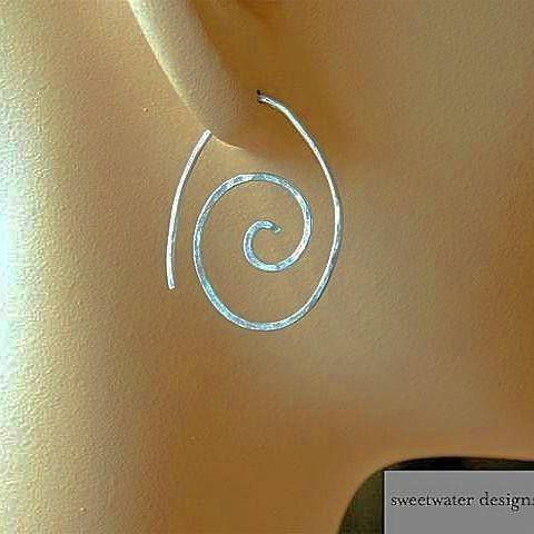 Silver Hoops, Spiral earrings, rustic hoop earrings, Camp Sundance, Gem Bliss