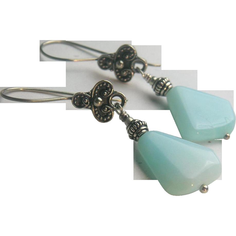 Peruvian Opal Silver drop earrings Gem Bliss Camp Sundance jewelry