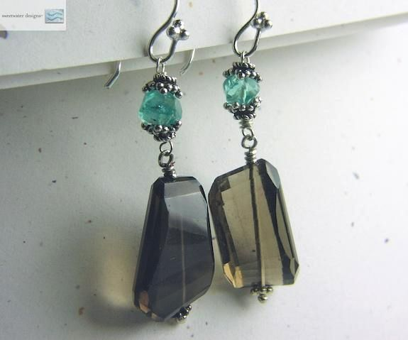 Apatite Smokey Quartz drop earrings sparkling briolettes Bali Camp Sundance