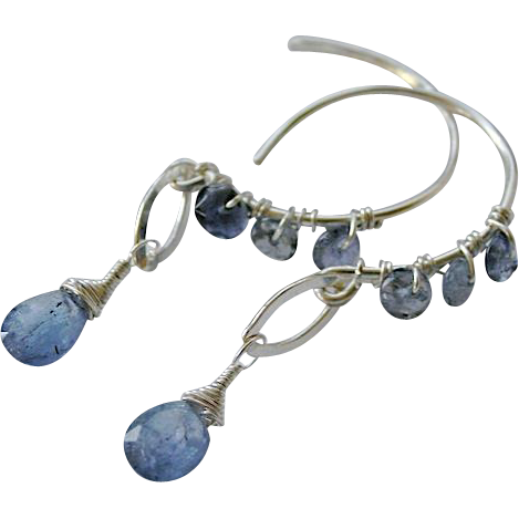 Tanzanite earrings, Iolite hoops. Silver Hoop earrings, Camp Sundance, Gem Bliss