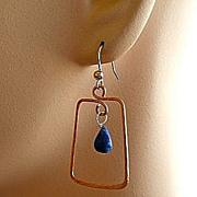 Copper Hoops Lapis Lazuli earrings briolettes Rose gold filled Vermeil