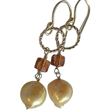 Baroque Pearl Madeira Citrine earring cube Camp Sundance gold filled