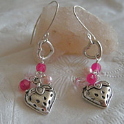 Pink strawberries dangle drop earrings Sterling Silver designer hooks