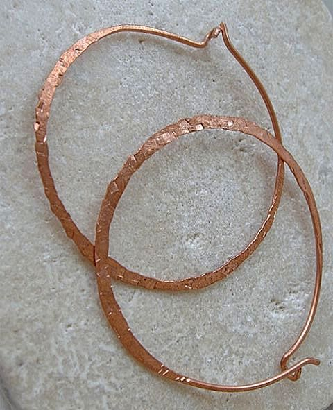 Hoop handcrafted forged Copper self closing textured Camp Sundance earrings