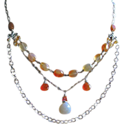 Carnelian Chalcedony necklace, 3 strand necklace, Silver multi strand necklace, Camp Sundance, Gem Bliss
