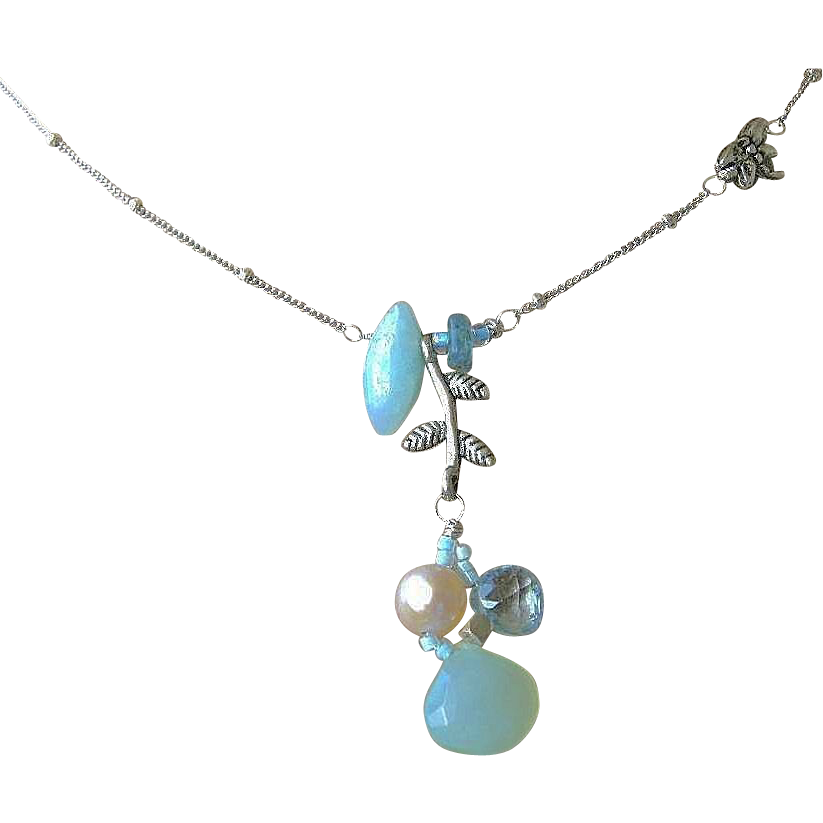 Topaz necklace, Amazonite Silver necklace, dragonfly charm, Camp Sundance,Gem Bliss