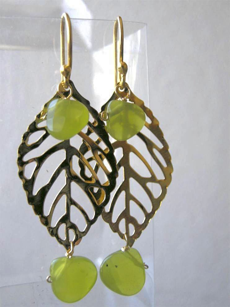 Leaf green earrings Camp Sundance olive dangle drops