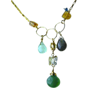 Labradorite charms necklace, Onyx ,Citrine, Chalcedony, Gold filled necklace, Camp Sundance, Gem Bliss
