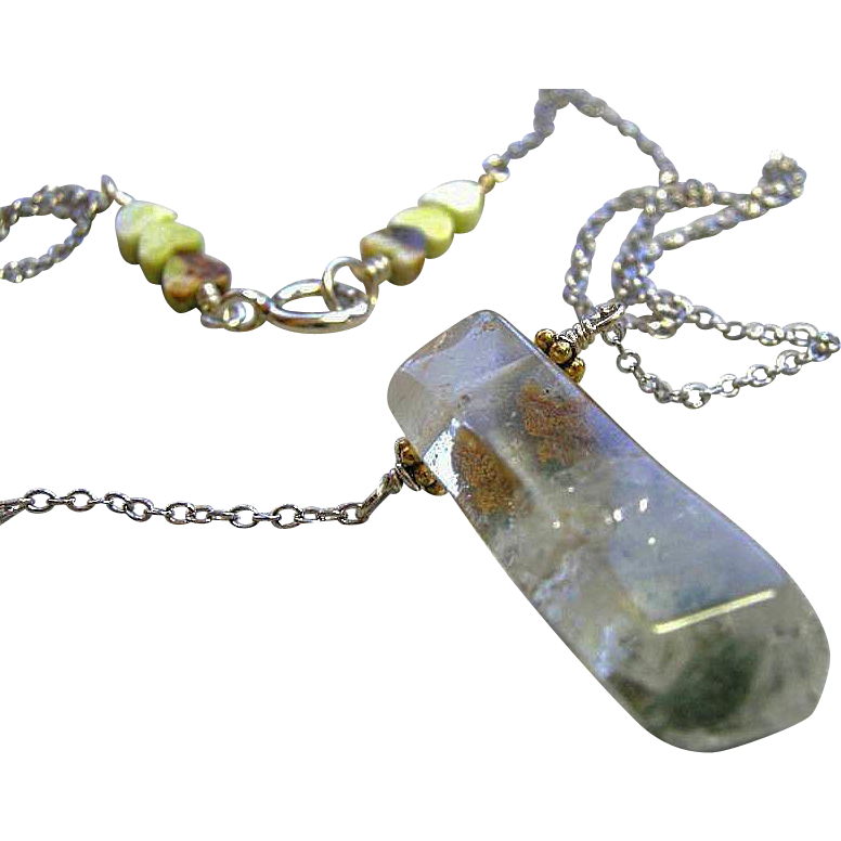 Quartz solitaire, Silver necklace, minimalist, Camp Sundance, Gem Bliss