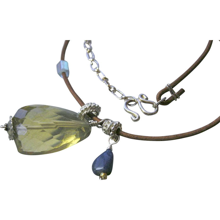 Lemon Citrine huge briolette Lapis Lazuli Leather Camp Sundance necklace