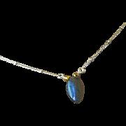 Labradorite necklace, silver Solitaire, Silver necklace, Camp Sundance Gem Bliss