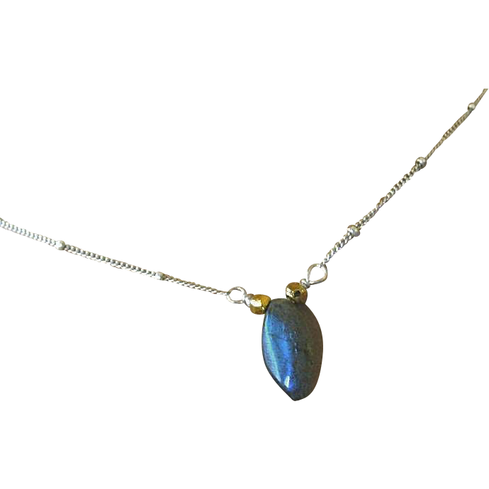 Labradorite necklace, silver Solitaire, Silver necklace, Camp Sundance Gem Bliss