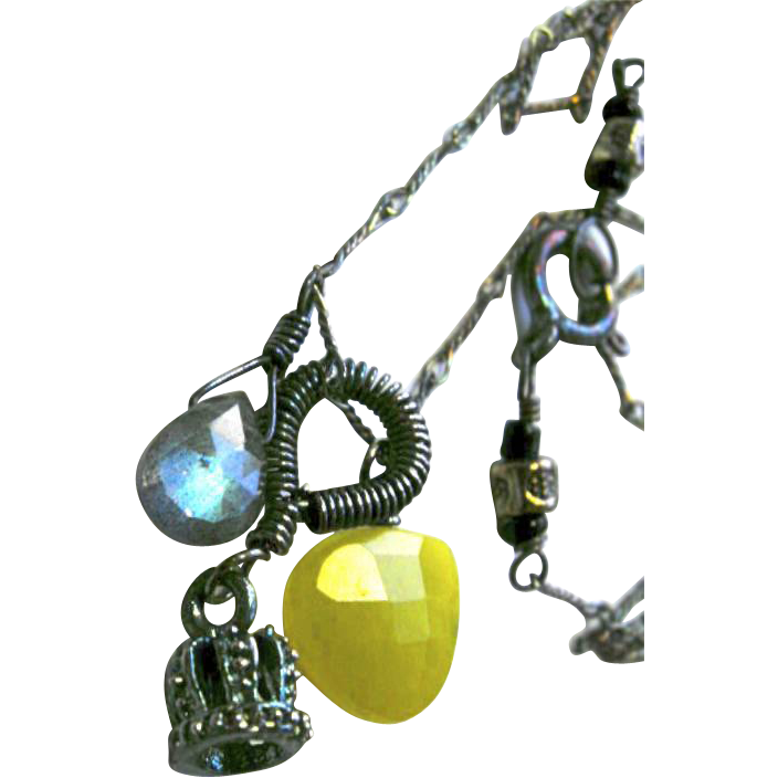 Labradorite necklace Camp Sundance caviar crown mossy olive green Sterling Silver