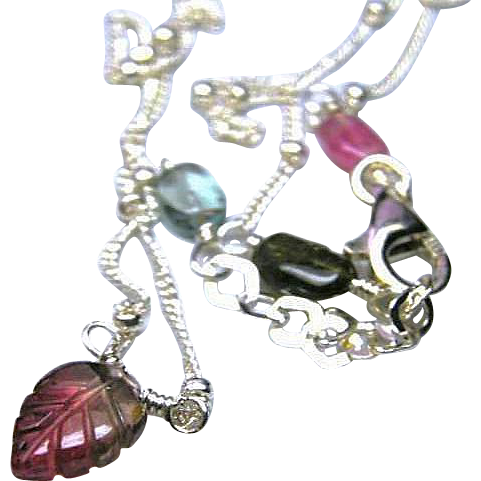Tourmaline necklace, Carved Tourmaline, Tourmaline Leaf, Solitaire necklace, Silver necklace, Camp Sundance Gem Bliss