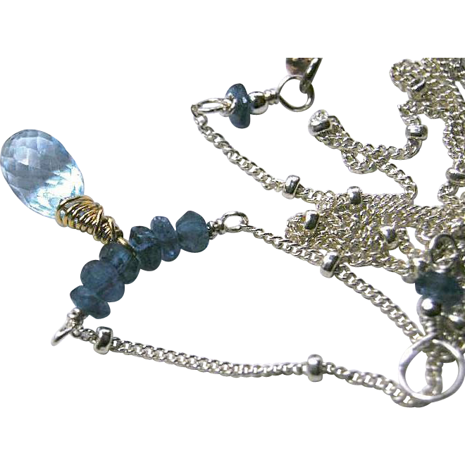 Silver necklace, Topaz Necklace, Apatite, Swiss Blue Topaz, blue necklace, Camp Sundance Gem Bliss