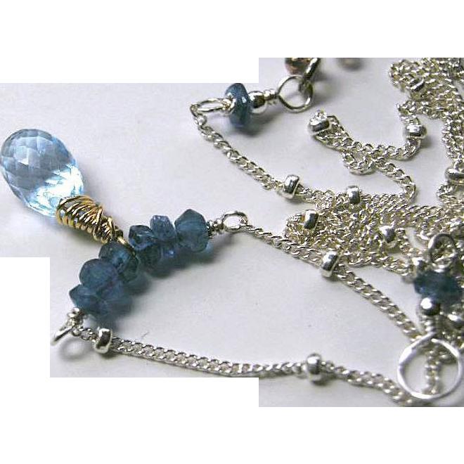 Silver necklace, Topaz Necklace, Apatite, Swiss Blue Topaz, blue necklace, Camp Sundance Gem Bliss