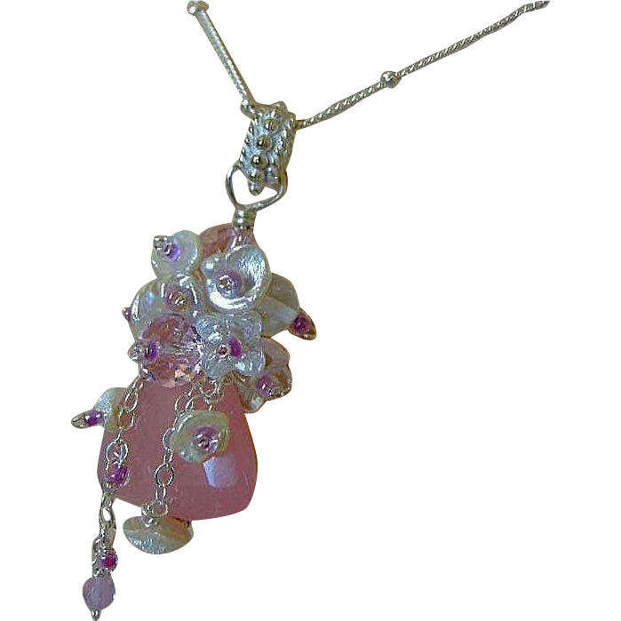 Pink Chalcedony, Keshi Pearl, layering necklace, embellished pendant, Camp Sundance, Gem Bliss