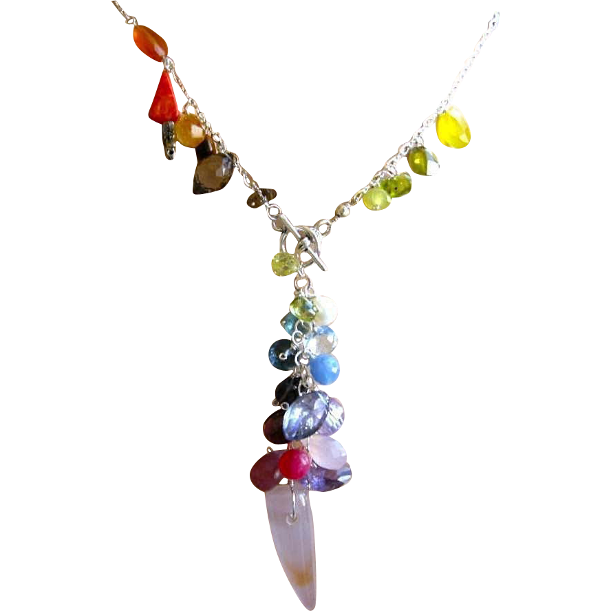 Gemstone Rainbow necklace, cascade necklace, Topaz, Citrine, Amethyst, Camp Sundance jewelry