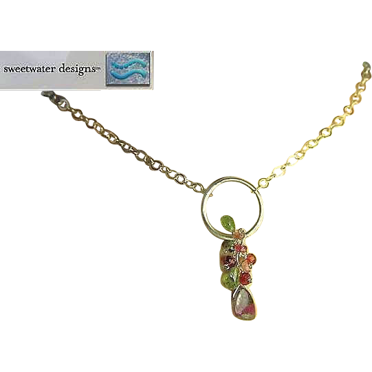 Tourmaline necklace, Silver Watermelon Slice, Peridot, cascade necklace, Camp Sundance, Gem Bliss