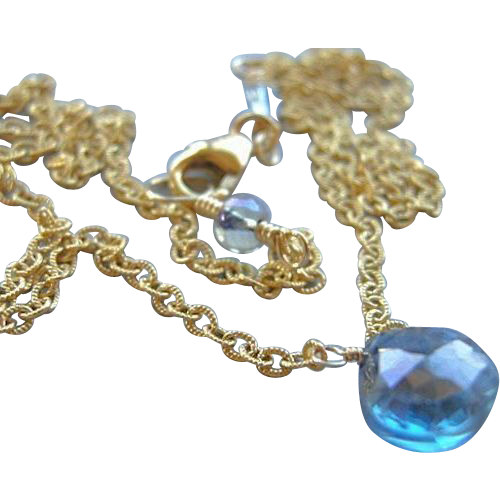 Mystic blue, solitaire necklace, 14k Gold filled, Camp Sundance, Gem Bliss