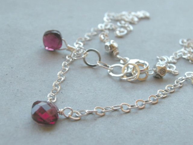 Garnet solitaire Camp Sundance necklace Sterling Silver
