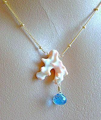 Topaz necklace, Coral branch, London blue Necklace Camp Sundance Gold filled pendant