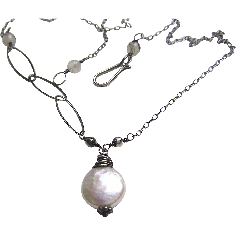 Pearl necklace, Silver necklace, bridal necklace, Camp Sundance Gem Bliss