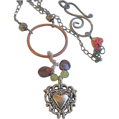 Copper Eternity necklace, Milagros heart charm  necklace, Camp Sundance