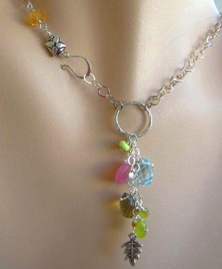 Lemon Topaz charms Camp Sundance necklace circle cascade Silver link toggle