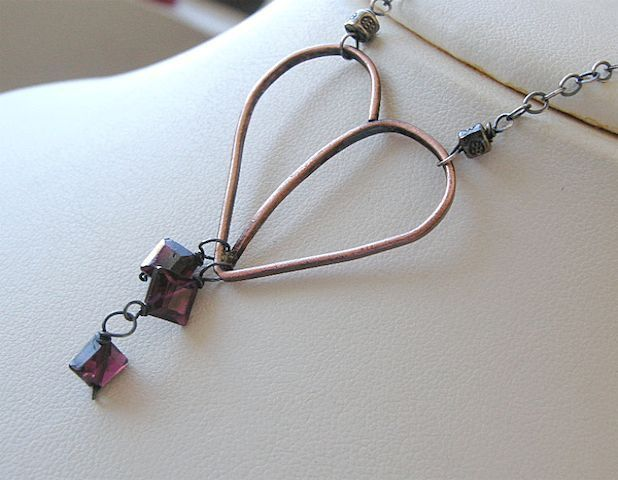Copper Garnets forged heart Camp Sundance unique Silver necklace