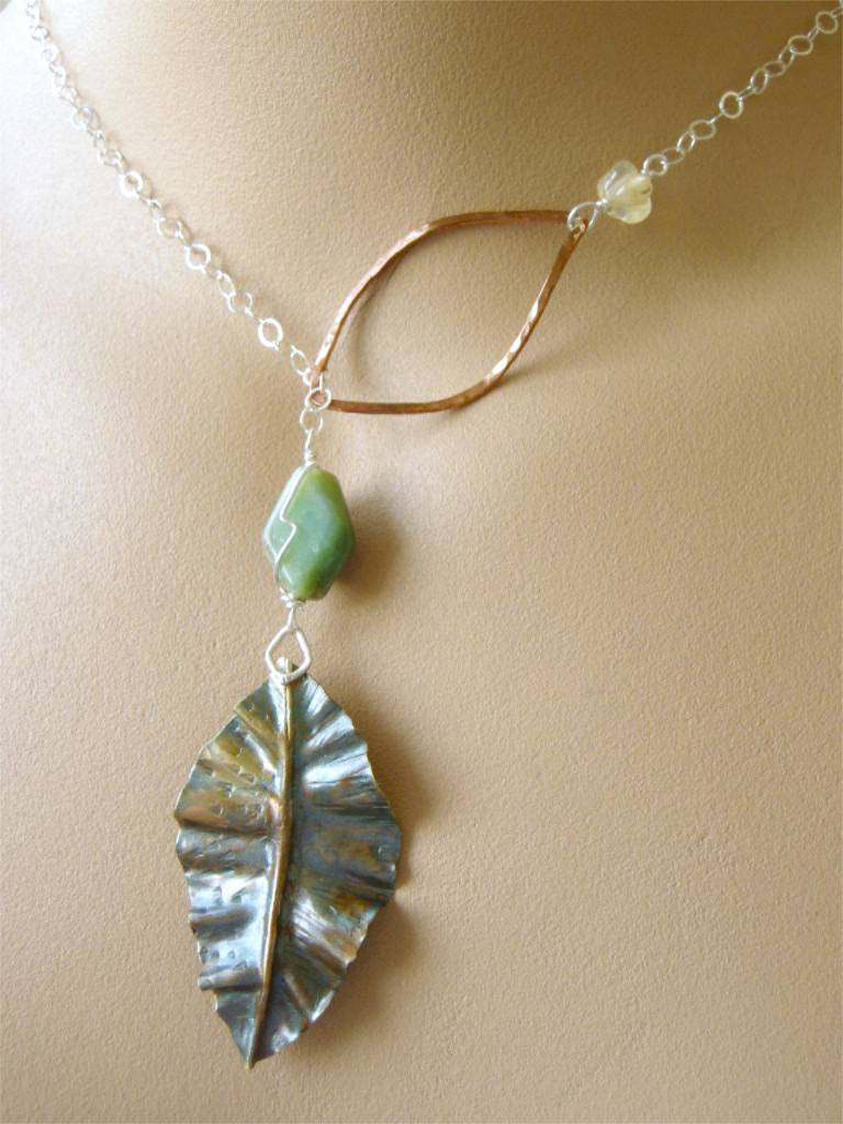 Lariat necklace Leaf Necklace, Silver Lariat, Copper Camp Sundance, Gem Bliss