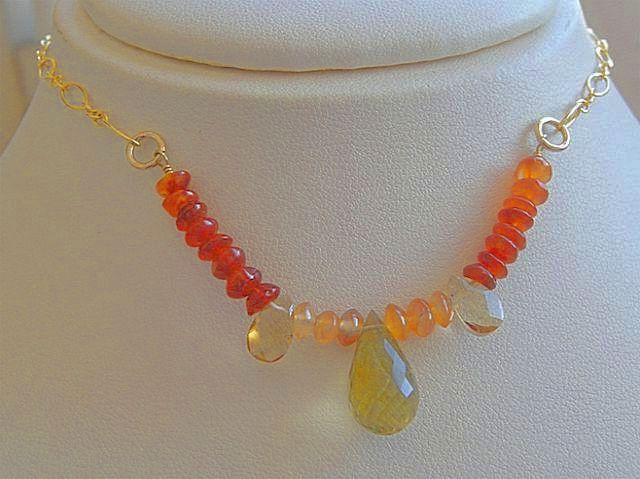 Lemon Topaz Camp Sundance necklace Carnelian Citrine gold filled
