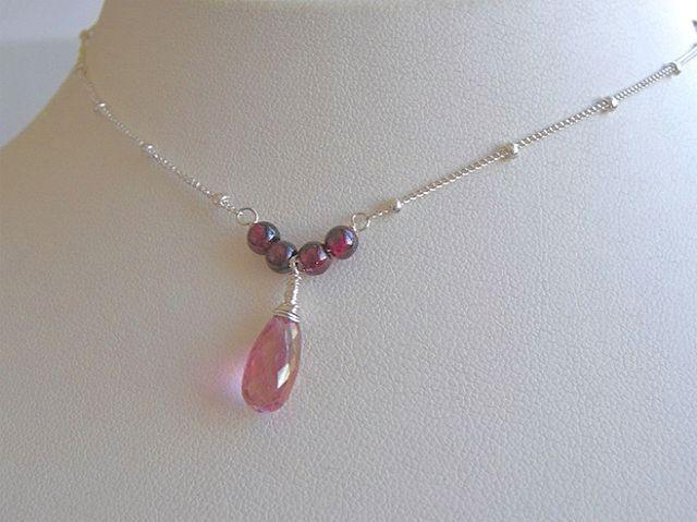 Topaz Garnet briolette solitaire Silver necklace Camp Sundance