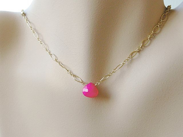 Hot pink Chalcedony solitaire necklace Camp Sundance Gold filled