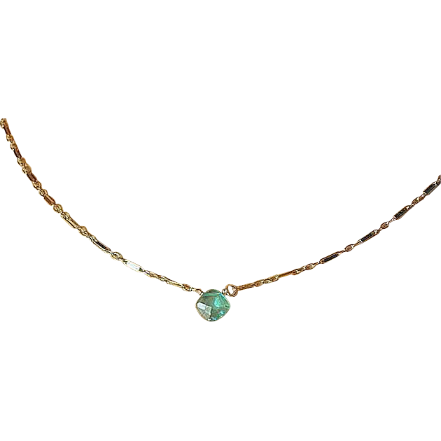Apatite necklace, Gold filled necklace, apatite solitaire, Camp Sundance jewelry, Gem Bliss