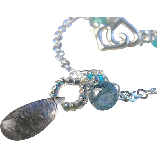 Moss Amethyst necklace, London blue Topaz, Silver necklace, Camp Sundance, Gem Bliss
