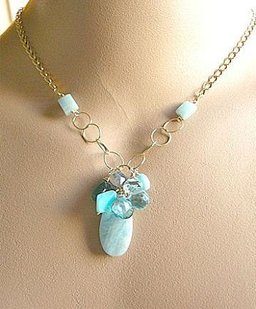 Amazonite Necklace, Aquamarine, Apatite, Topaz, gem cascade necklace, Peruvian Opal Cluster, Camp Sundance Gem Bliss