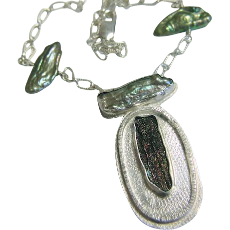 Rainbow Hematite, Silver necklace, Keshi Pearl, Camp Sundance, Gem Bliss