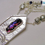 Mermaid house Dichroic necklace ruby cabochon Silver Camp Sundance
