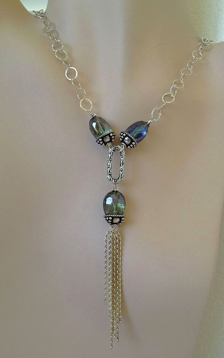 LONG Silver Y tasseled necklace sparkling peacock beads 20 inch