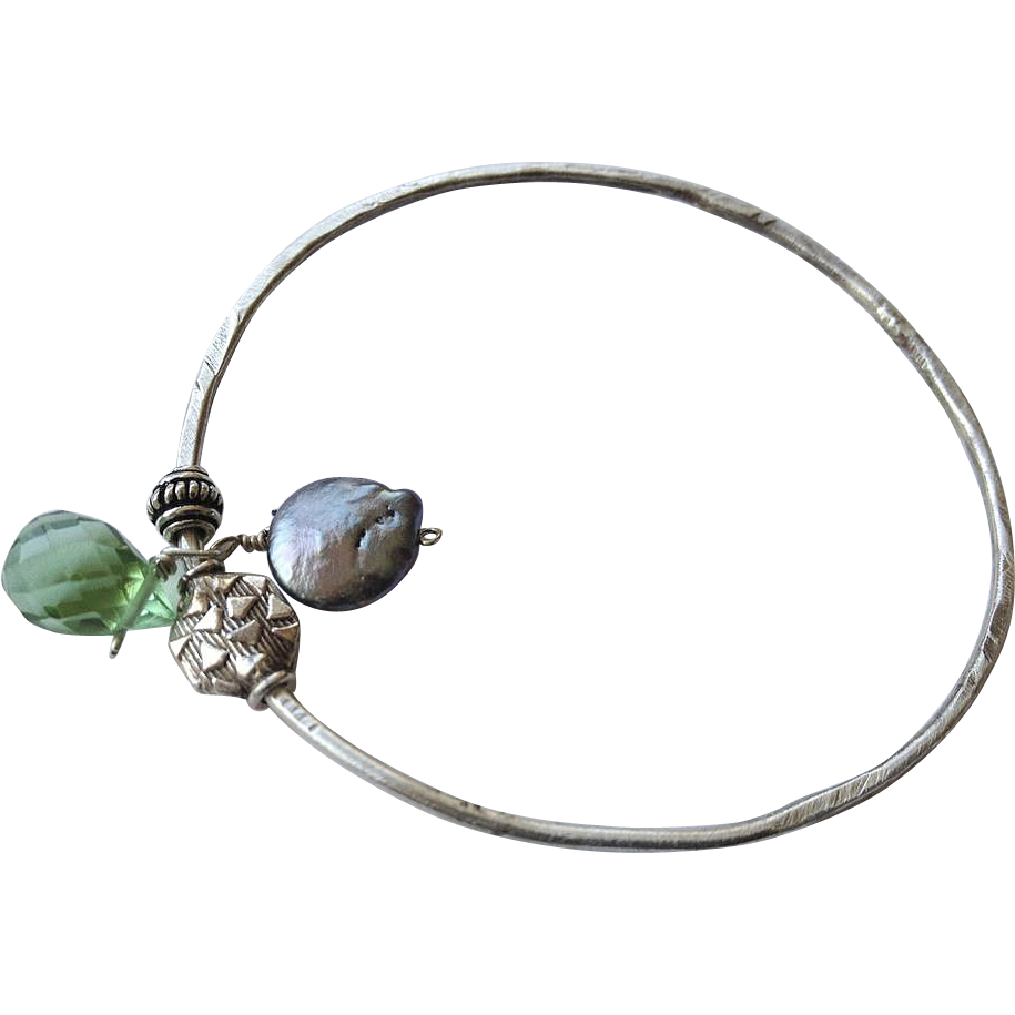 Silver bangle bracelet, charms bangle, Layering bracelet, Coin Pearl, Camp Sundance, Gem Bliss