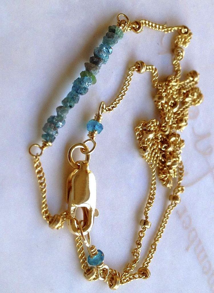Teal blue Diamonds Gold filled necklace natural neon Apatite Camp Sundance necklace