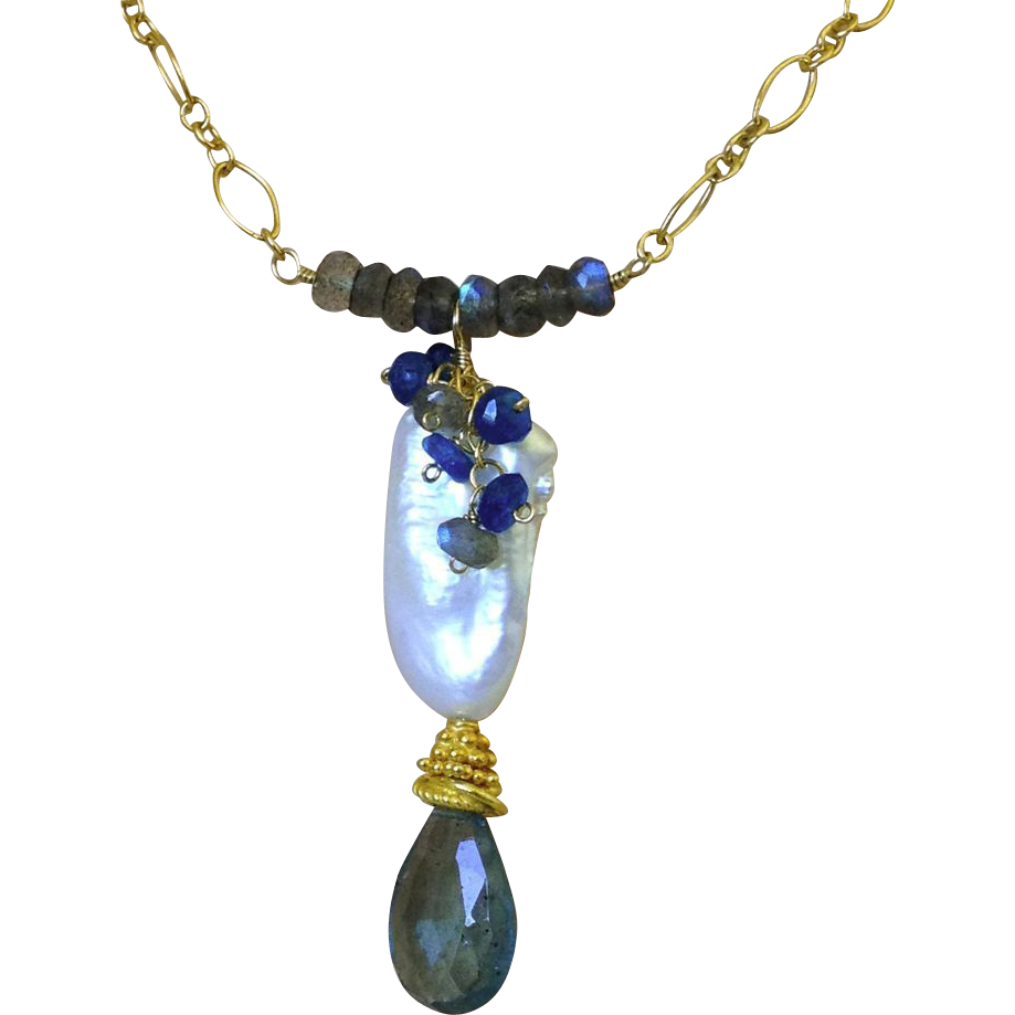 Moss Aquamarine, baroque Pearl, Labradorite, Neon Apatite, Aquamarine necklace, Gold filled, Camp Sundance, Gem Bliss