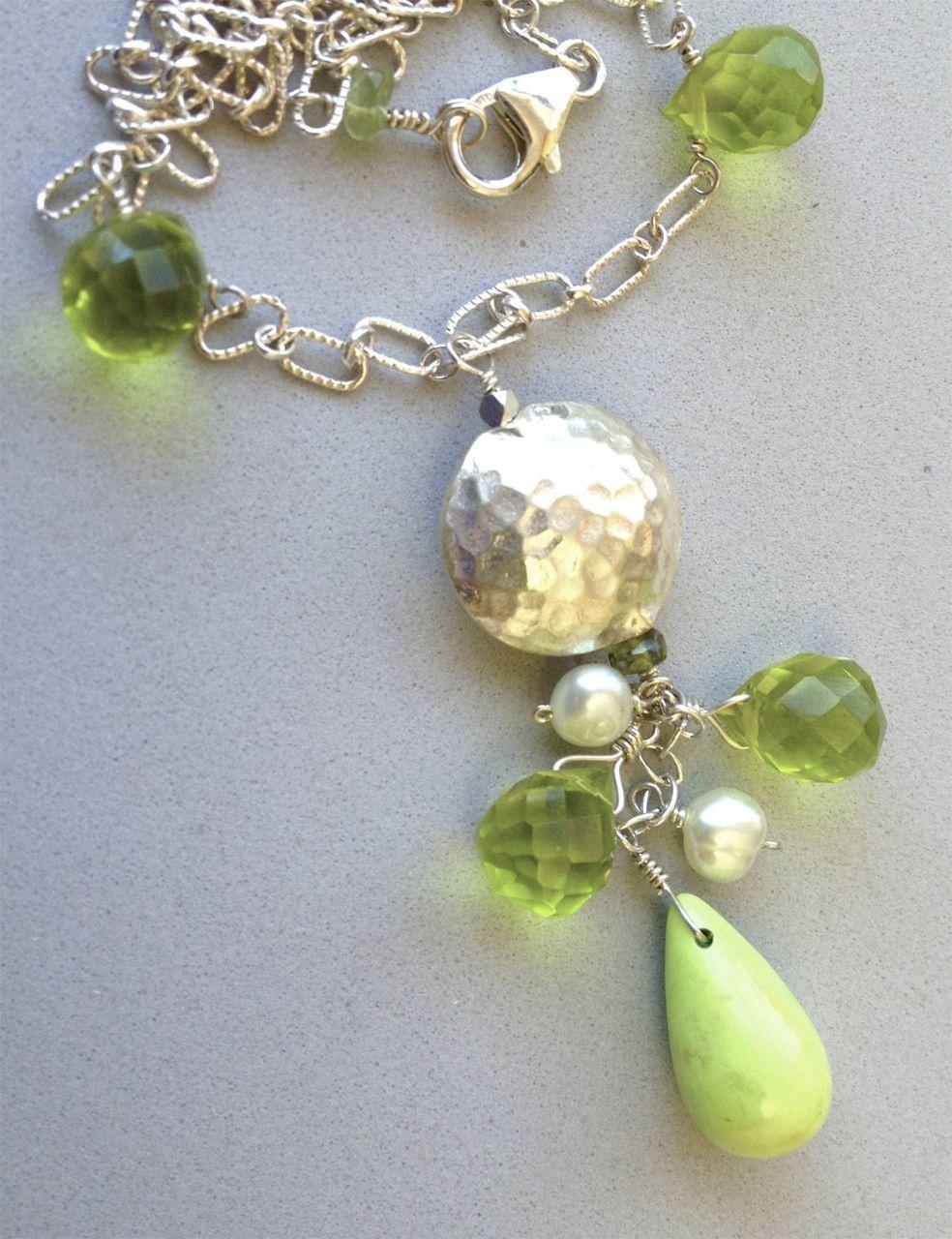 Gaspeite green Sterling Silver pendant necklace Camp Sundance