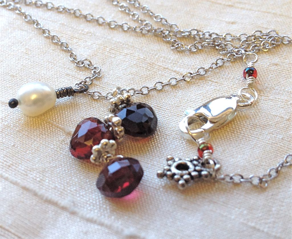 Garnet red trio with white Pearl Silver necklace Camp Sundance