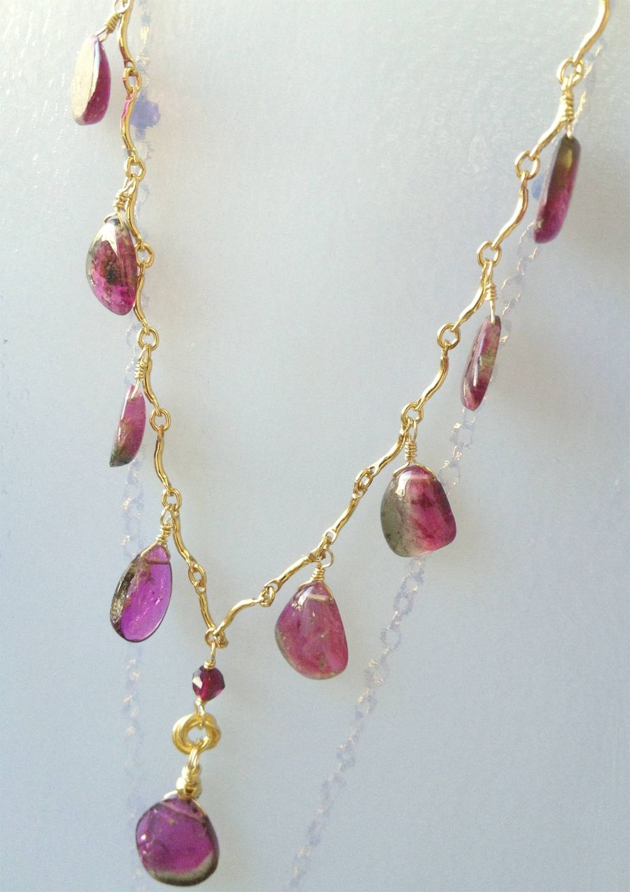 Watermelon patch maine tourmaline necklace