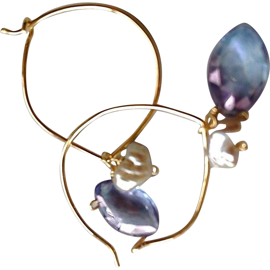 Mystic blue, Lotus Hoop, Keshi Pearl, hoops with charms earring, Gold filled,  Camp Sundance, Gem Bliss