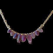 Pink Tourmaline necklace, carved Leaves, Rubellite, October birthday, Gold filled, Camp Sundance, Gem Bliss