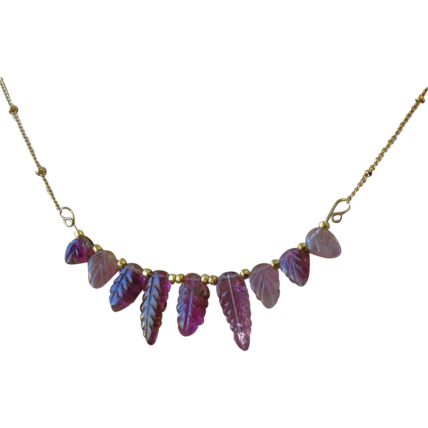 Pink Tourmaline necklace, carved Leaves, Rubellite, October birthday, Gold filled, Camp Sundance, Gem Bliss